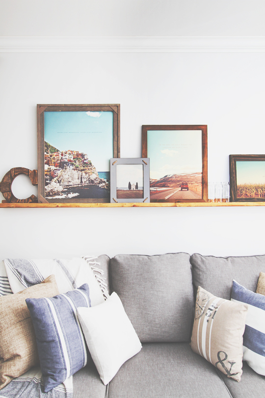 DIY picture ledge, living room decor